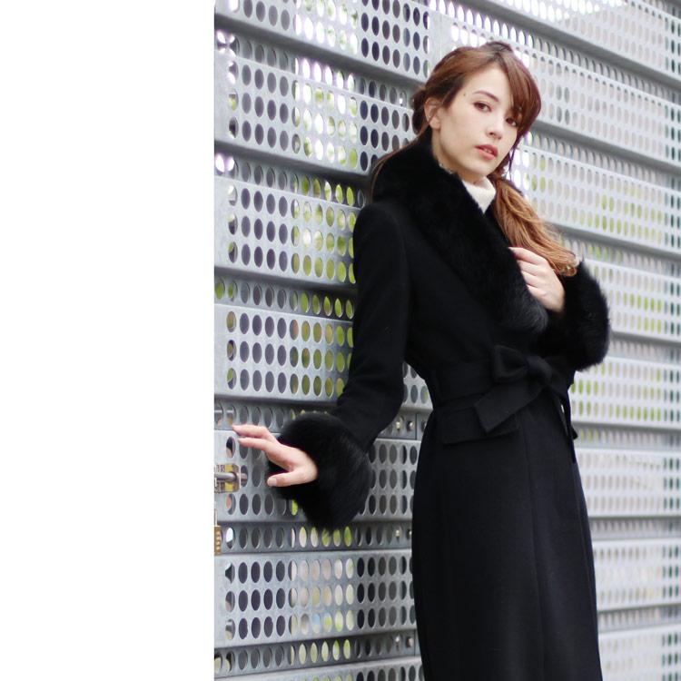 カシミヤ ブレンド ウール コート ファー トリミング ブラック 黒