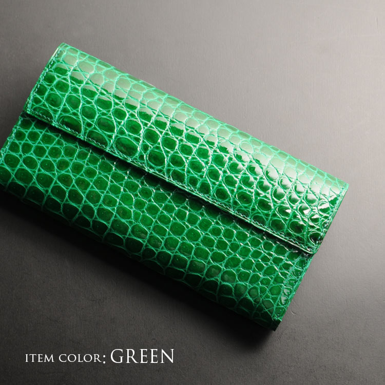 シャイニング クロコダイル 財布 グリーン 鰐革