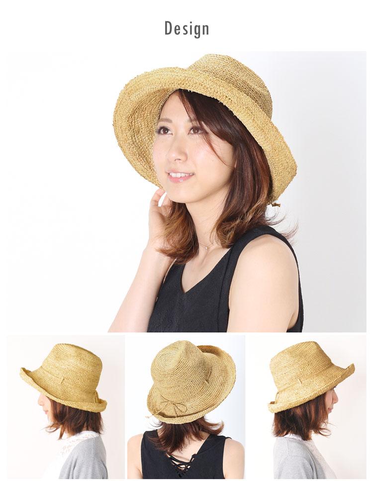 ラフィア 帽子 中折れ 夏 レディース 夏