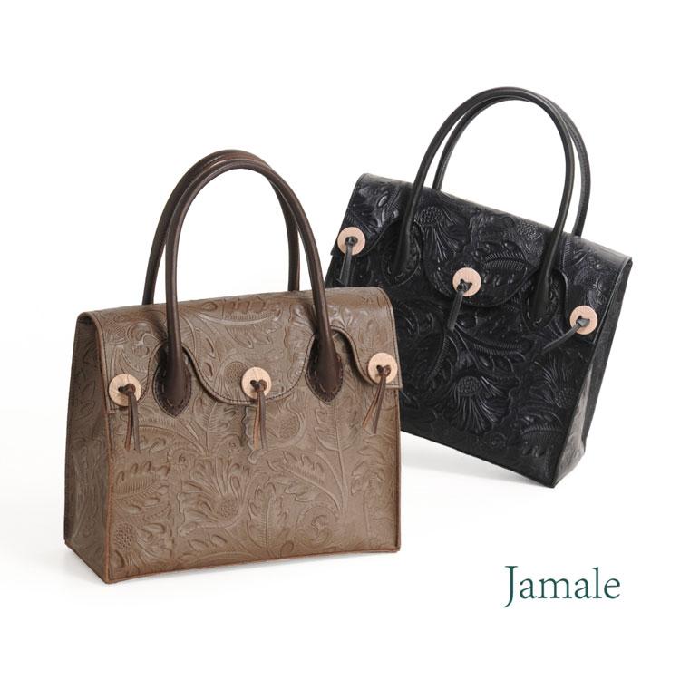 Jamale ボタニカル柄 型押し 本革 ハンドバッグ 日本製 個性的