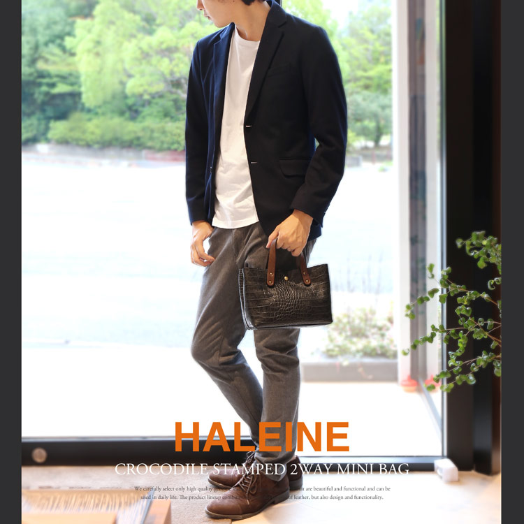 HALEINE クロコダイル 型押し 牛革 メンズ 2WAY ミニ ショルダー バッグ