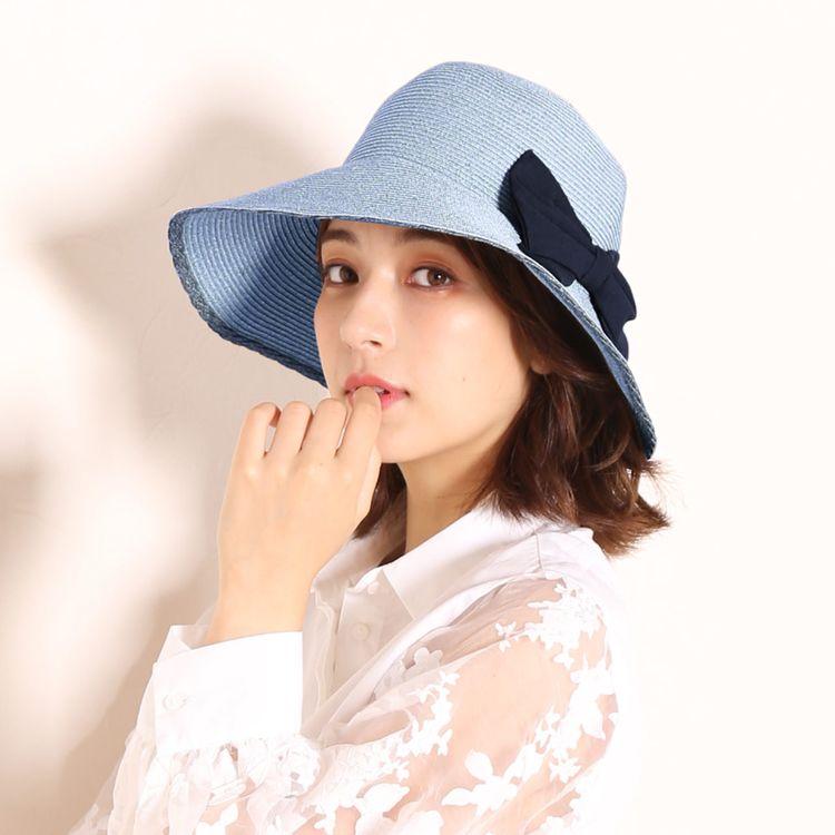 麦わら 水色 日よけ 帽子 ハット 夏 紫外線