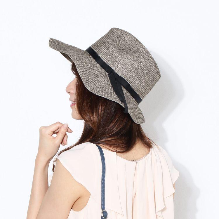 麦わら グレー 日よけ 帽子 ハット 夏 紫外線