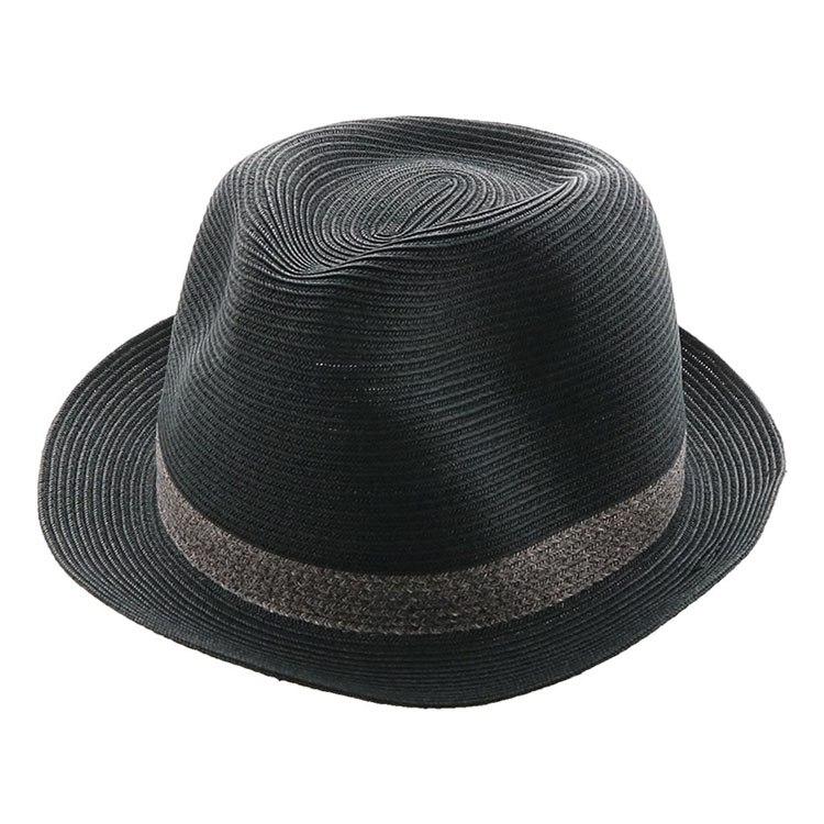 麦わら 黒 日よけ 帽子 ハット 夏 紫外線