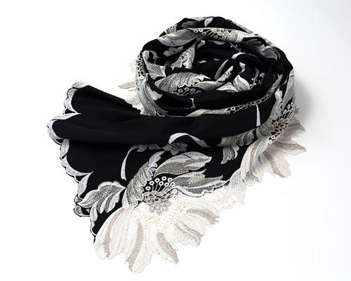 エレガント 花柄 刺繍 スカーフ ブラック