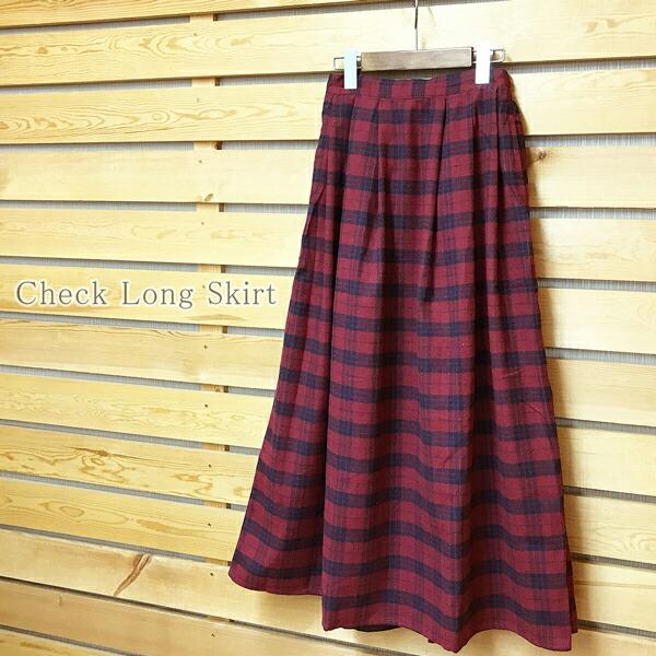 大きいサイズ ロングスカート チェック柄 ビエラ素材 LL 3L 4L