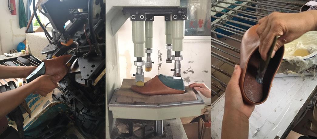 靴を作るように丁寧に作られているスリッパ