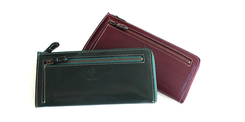 オールドマドラスシリーズのL字型ファスナーの長財布です。