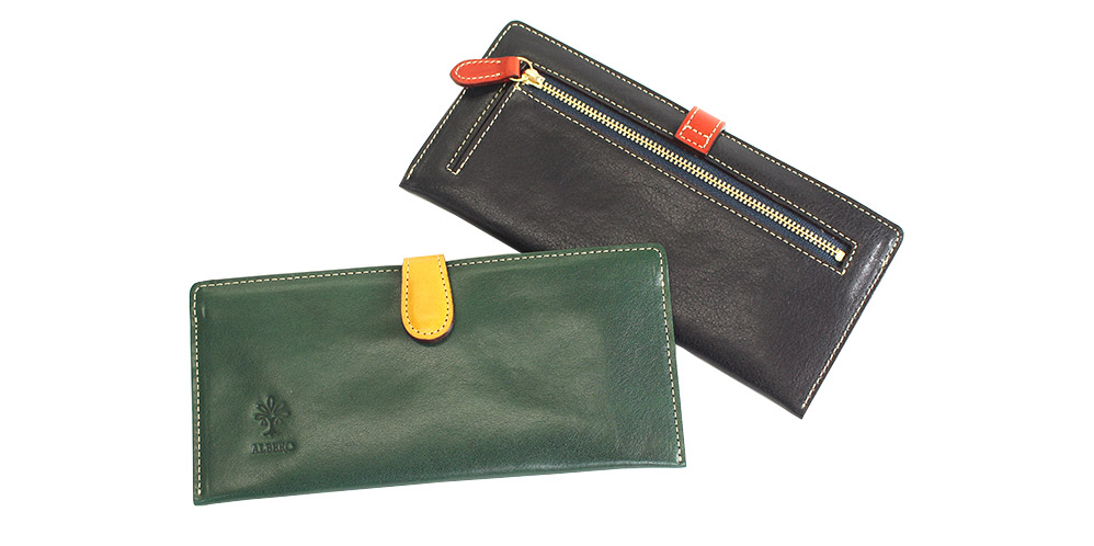 薄マチタイプのコンパクト長財布です。