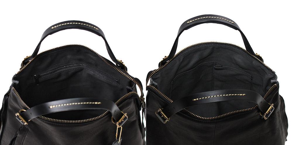 正面側にはパッチ式内ポケット、背中側にはファスナー付き内ポケットを装備。