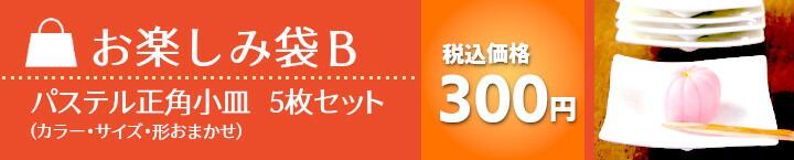 お楽しみ袋B 税込価格300円 パステル正角小皿 5枚セット(カラー・サイズ・形おまかせ)