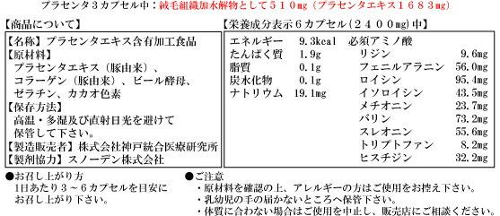 プラセンタ原末SBプラス成分表