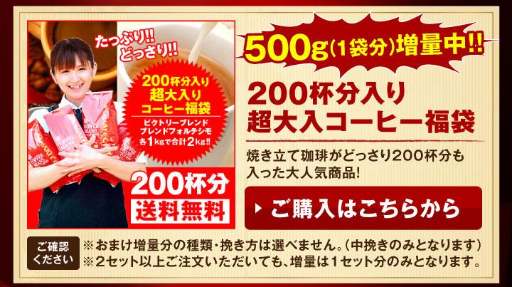200杯分入り超大入り珈琲福袋が増量中!