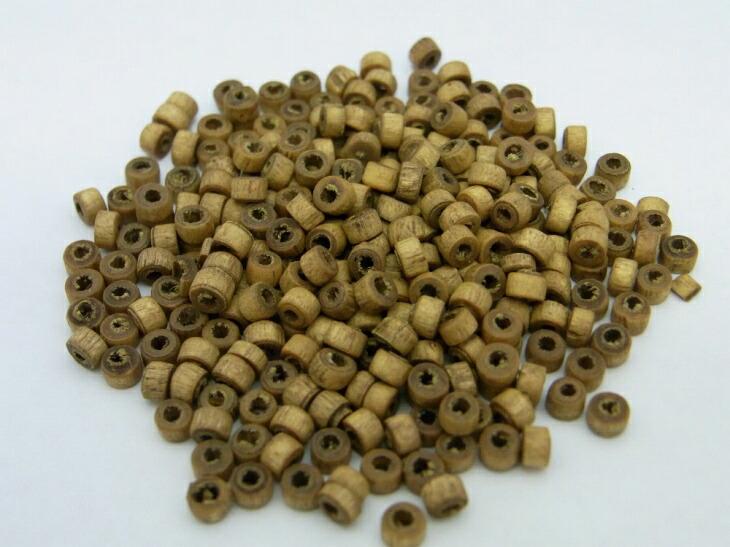 円筒型ウッドビーズ(約100個)アッシュブラウン/直径:約2.8mm〜約3.5mm/高さ:約2.8mm〜約3.5mm border=0