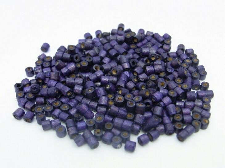 円筒型ウッドビーズ(約100個)バイオレット(濃い紫)/直径:約2.8mm〜約3.5mm/高さ:約2.8mm〜約3.5mm border=0