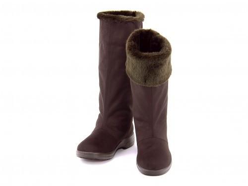 ロングブーツレディースファー付き3E防水 雨 雪 靴 シューズ防滑ローヒール歩きやすいトップドライTOPDRYTDY39-10ダークブラウン
