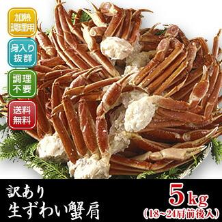絶品「訳あり生ずわい蟹」肩5kg【送料無料】