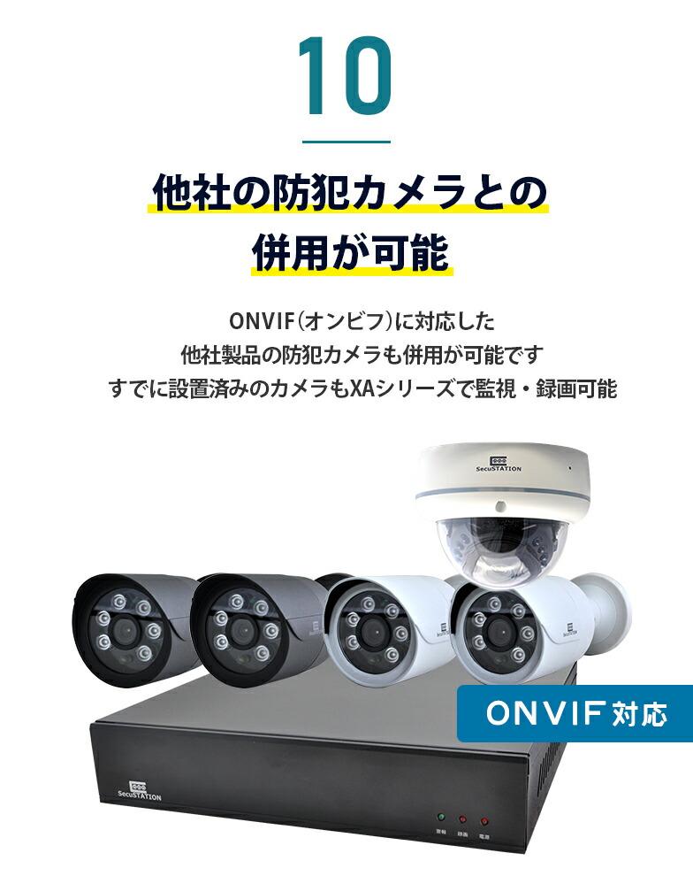 10 ONVIF対応で他社カメラとの併用が可能