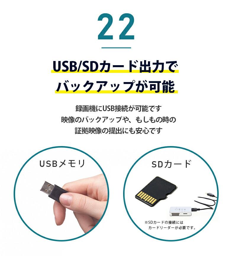 22 USB/SDカード出力でバックアップが可能