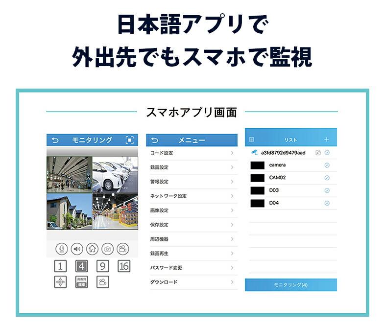 日本語アプリで外出先でもスマホで監視