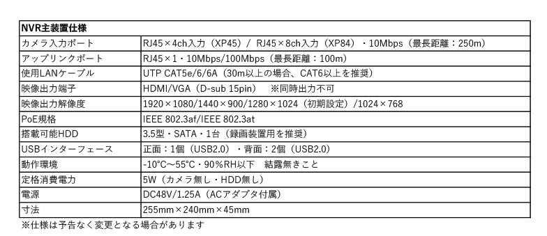 SC-XP45録画装置仕様