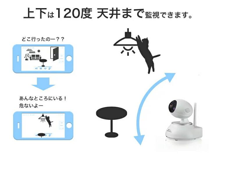 120度天井まで監視できる