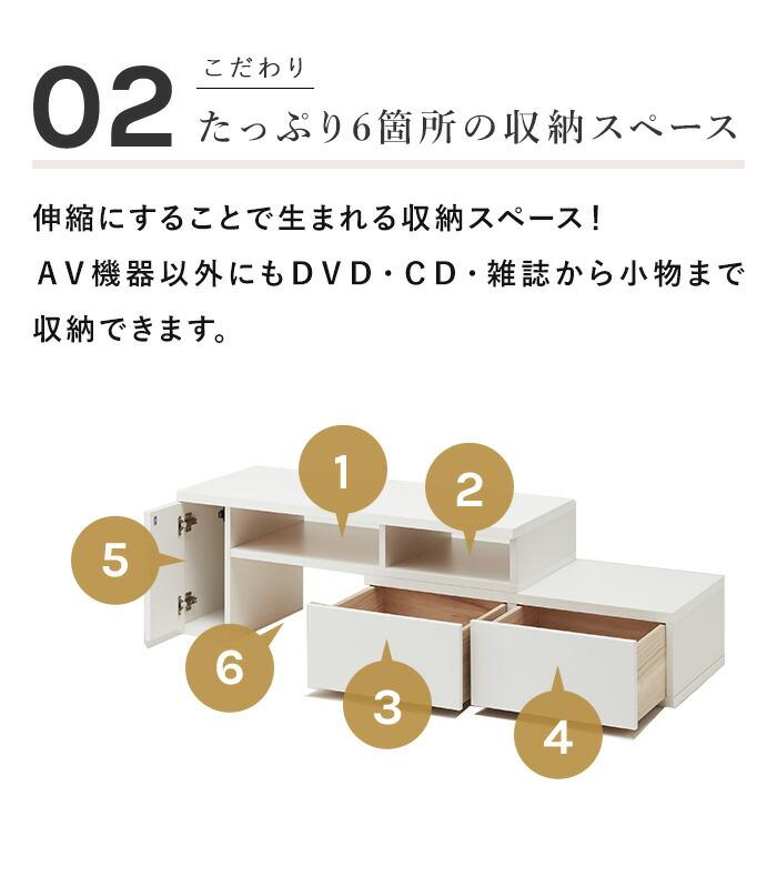 テレビ台 日本製 伸縮テレビ台 TV台 コーナー テレビボード テレビラック 完成品 おしゃれ 収納 白 茶 ホワイト ブラウン おすすめ 一人暮らし シンプル