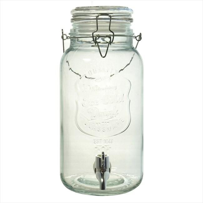 【リビング】ガラス製 ジャグ ドリンクサーバー 蛇口付き 透明 4L