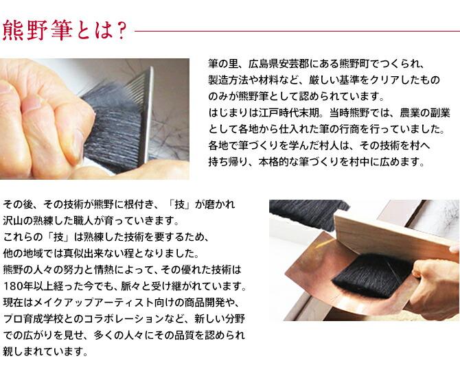 熊野筆とは?/筆の里、広島県安芸郡にある熊野町でつくられ、製造方法や材料など、厳しい基準をクリアしたもののみが熊野筆として認められています。はじまりは江戸時代末期。当時熊野では、農業の副業として各地から仕入れた筆の行商を行っていました。各地で筆づくりを学んだ村人は、その技術を村へ持ち帰り、本格的な筆づくりを村中に広めます。その後、その技術が熊野に根付き、「技」が磨かれ沢山の熟練した職人が育っていきます。これらの「技」は熟練した技術を要するため、他の地域では真似出来ない程となりました。熊野の人々の努力と情熱によって、その優れた技術は180年以上経った今でも、脈々と受け継がれています。現在はメイクアップアーティスト向けの商品開発や、プロ育成学校とのコラボレーションなど、新しい分野での広がりを見せ、多くの人々にその品質を認められ親しまれています。