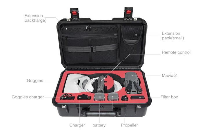 収納可能なもの | Mavic 2 本体、Goggles、充電器、バッテリー、プロペラ、レンズフィルタ、送信機