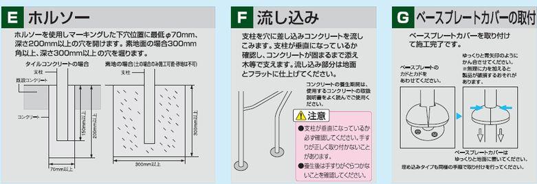 ホルソーを使用し下穴をあける。支柱を下穴に差込みコンクリートを流し込む。
