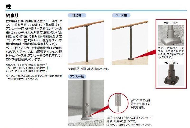柱のい納まり3種類。埋込柱・ベース柱・アンカー柱がございます。