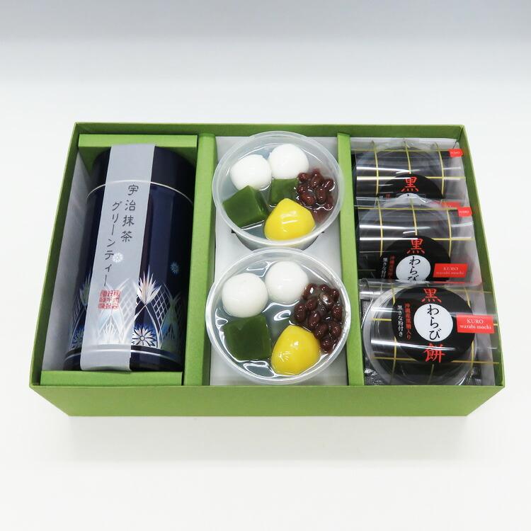 老舗茶舗のひやひやスイーツセット(抹茶ゼリー2個、黒わらび餅4個、抹茶グリーンティー1缶)