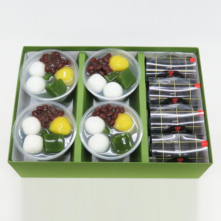 老舗茶舗のひやひやスイーツセット(抹茶ゼリー4個、黒わらび餅4個)