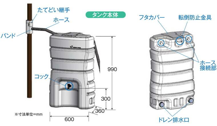 タンク本体の外観図