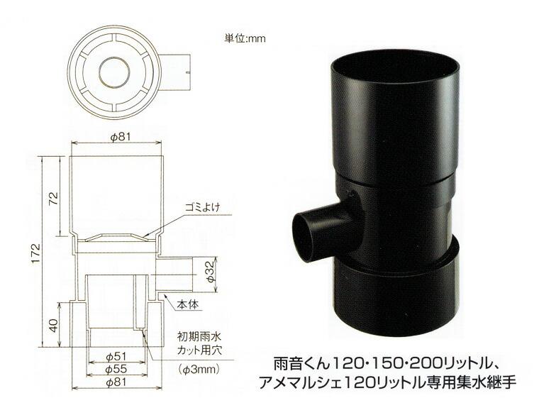 雨音くん200L用・雨どい集水器
