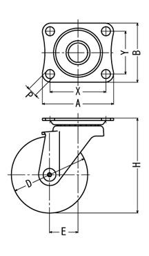 ハンマーキャスターの自在型の図面です。ストッパー付は大きさをご参考ください。