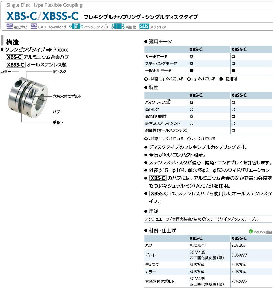 鍋屋バイテックカップリングXBS-C/XBSS-Cシングルディスクタイプ