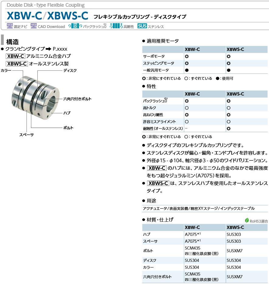 鍋屋バイテックカップリングXBW-C/XBWS-Cディスクタイプ