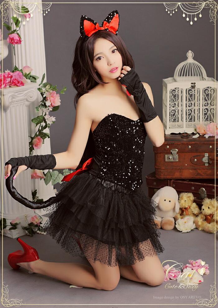 コスプレ サンタ サンタコス クリスマス 衣装 黒猫 猫耳 ネコ