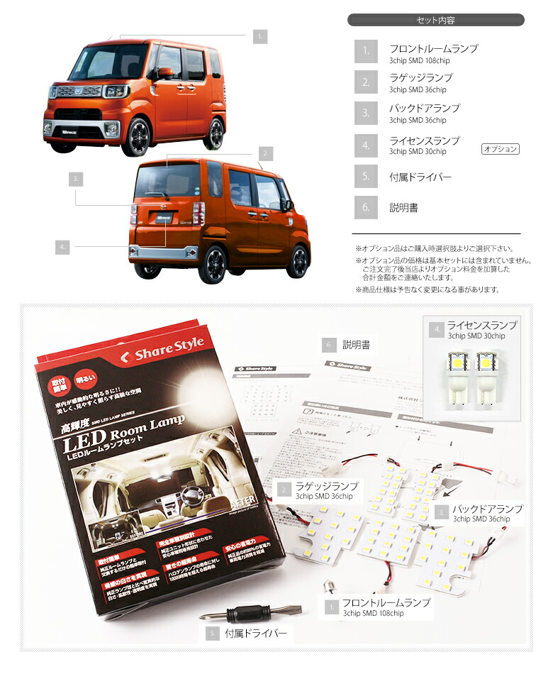 DAIHATSUウェイク(wake)LA710S専用 LEDルームランプセットト_ラゲッジイメージ