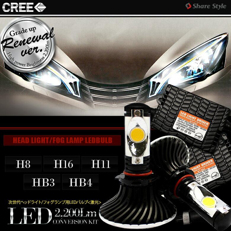 <CREE製LED搭載>次世代の光―爆光!!1800LM H4/H8/H11/H16/HB3/HB4 ヘッドライト/フォグランプ用LEDバルブ アルミヒートシンク 25W 6000K 3chipSMD-メイン