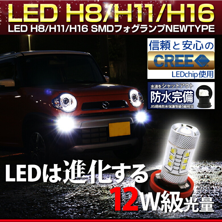 LED H8/H11/H16SMDフォグランプNEWTYPE_メイン