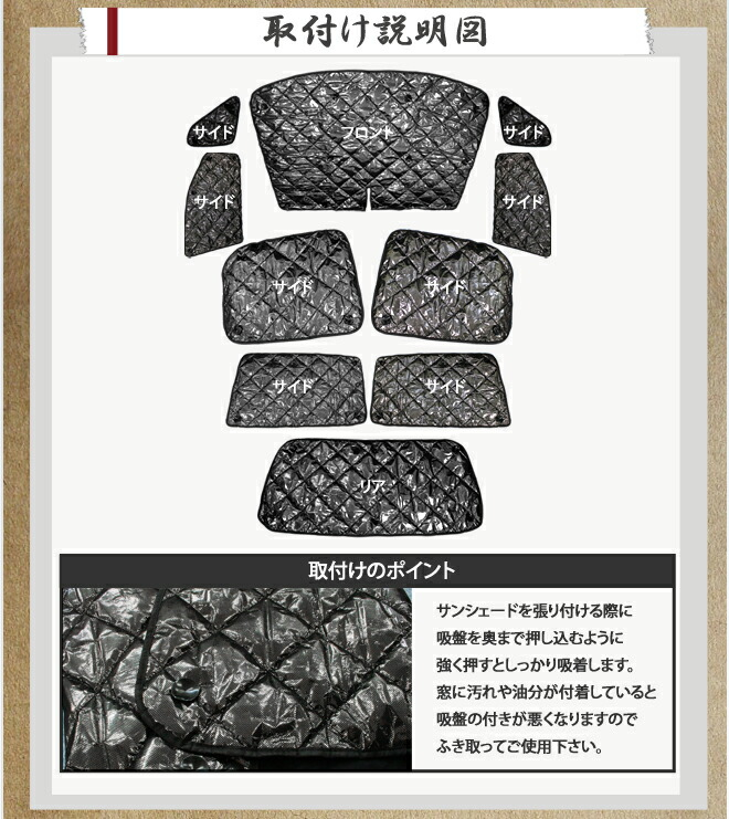 TOYOTA(トヨタ)70系ノア(NOAH)/ヴォクシー(VOXY)専用設計 サンシェード 吸盤で簡単装着 フロント リア サイド 丸ごと1台分 10点セット 収納袋付き 車-商品内容