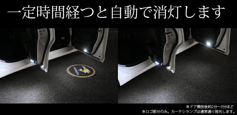 【レビュー記載で送料無料】 TOYOTA ハリアーZSU6#用 ロゴ発光デザインカーテシランプ ユニット付き 取り付け簡単_一定時間