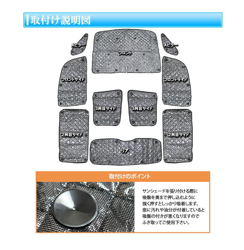デリカD5 サンシェード 吸盤で簡単装着 フロント リア サイド 丸ごと1台分 8点セット 収納袋付き  車-商品特徴