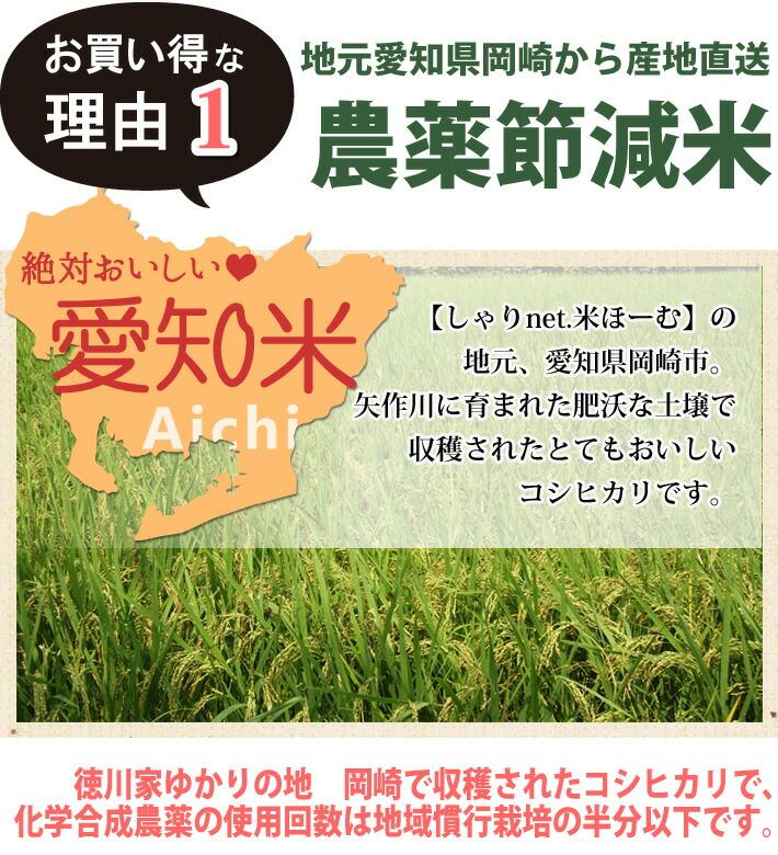 お買い得な理由1「愛知県岡崎市の農薬節減米」