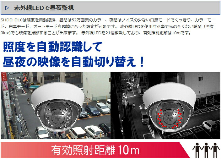 赤外線カメラ 昼夜監視