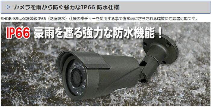 赤外線カメラ 防水仕様 IP66