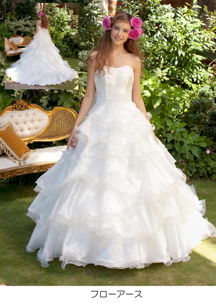 【楽天市場】ウェディングドレス 白 ドレス S−フローアース 花嫁 ホワイト 結婚式【レンタル】:かしいしょう 和楽